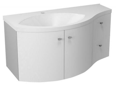 SAPHO - AILA umývadlová skrinka 110x39cm, biela/strieborná, zásuvky vpravo vč.umyvadla Isobel 55602 (55622-SET)