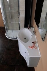 SAPHO - AILA umývadlová skrinka 110x39cm, biela/strieborná, zásuvky vpravo vč.umyvadla Isobel 55602 (55622-SET), fotografie 4/8