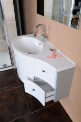 SAPHO - AILA umývadlová skrinka 110x39cm, biela/strieborná, zásuvky vpravo vč.umyvadla Isobel 55602 (55622-SET), fotografie 2/8