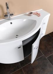SAPHO - AILA umývadlová skrinka 110x39cm, biela/strieborná, zásuvky vpravo vč.umyvadla Isobel 55602 (55622-SET), fotografie 12/8