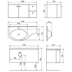 SAPHO - AILA umývadlová skrinka 110x39cm, biela/strieborná, zásuvky vpravo vč.umyvadla Isobel 55602 (55622-SET), fotografie 8/8