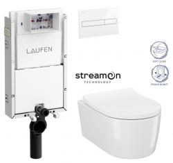 LAUFEN Podomít. systém LIS TW1 SET s bielym tlačidlom + WC CERSANIT INVERTO + SEDADLO duraplastu SOFT-CLOSE (H8946630000001BI IN1)