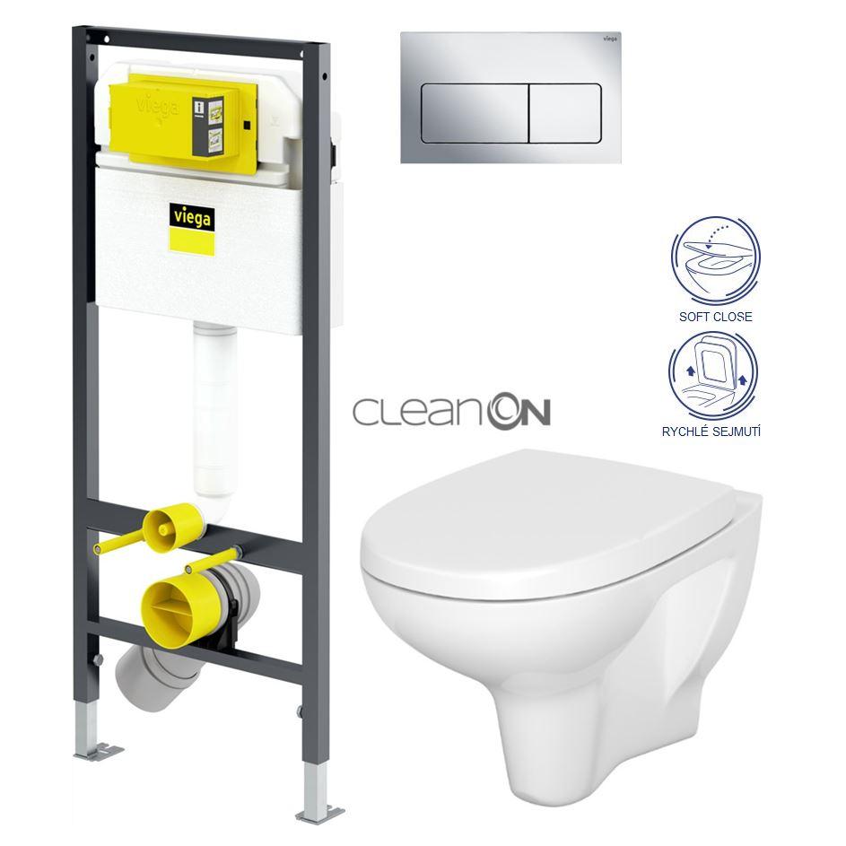 VIEGA Presvista modul DRY pro WC včetně tlačítka Life5 CHROM + WC CERSANIT ARTECO CLEANON + SEDÁTKO (V771973 LIFE5CR AT1)