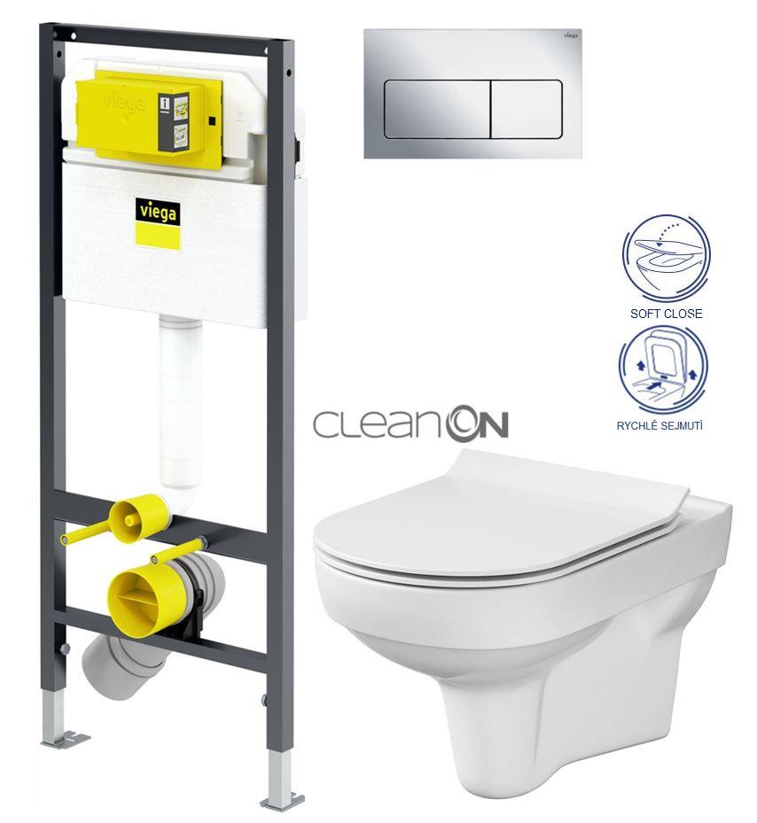 VIEGA Presvista modul DRY pro WC včetně tlačítka Life5 CHROM + WC CERSANIT CITY NEW CLEANON + WC SEDÁTKO SLIM (V771973 LIFE5CR CI2)