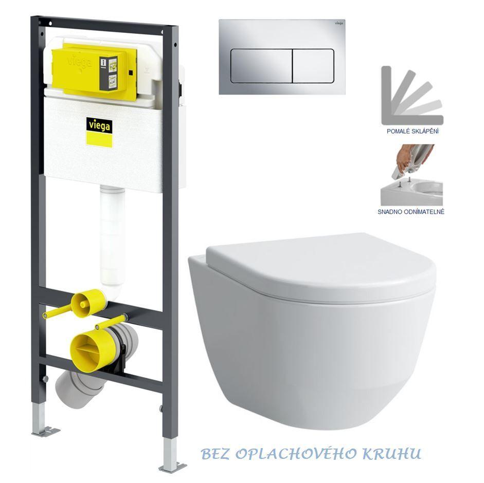 VIEGA Presvista modul DRY pre WC vrátane tlačidla Life5 CHROM + WC LAUFEN PRO RIMLESS + SEDADLO V771973 LIFE5CR LP1