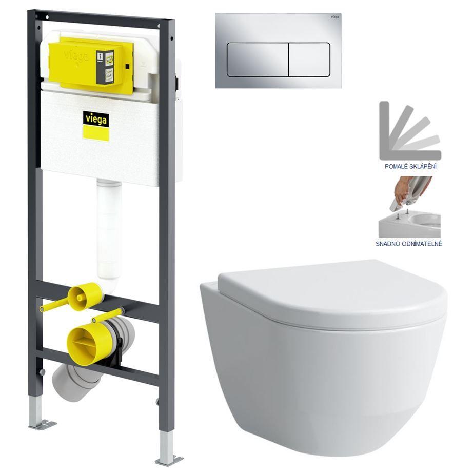 VIEGA Presvista modul DRY pre WC vrátane tlačidla Life5 CHROM + WC LAUFEN PRO + SEDADLO V771973 LIFE5CR LP3