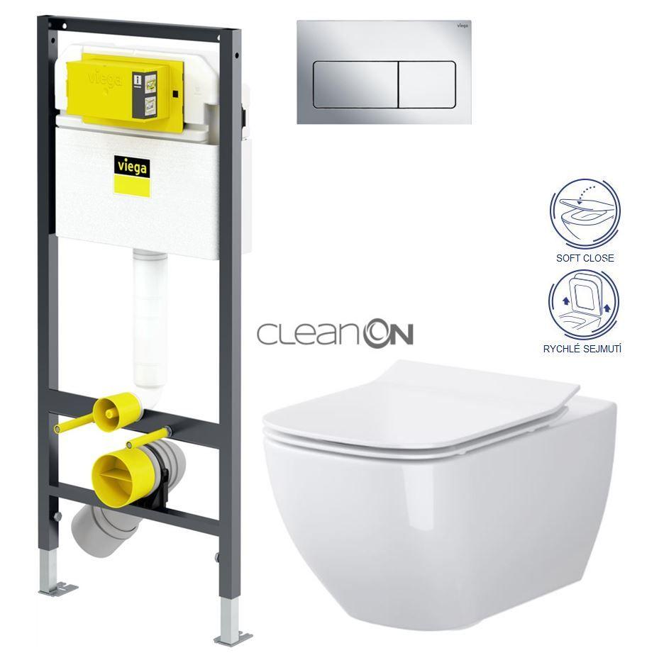 VIEGA Presvista modul DRY pre WC vrátane tlačidla Life5 CHROM + WC CERSANIT VIRGO CLEANON + SEDADLO V771973 LIFE5CR ME1