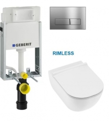 AKCE/SET/GEBERIT - SET KOMBIFIXBasic vrátane chrómového ovládacieho tlačidla DELTA 51 + JIKA Mio WC, Rimless + Mio WC sedátko SLIM (110.100.00.1 51CR IO1)