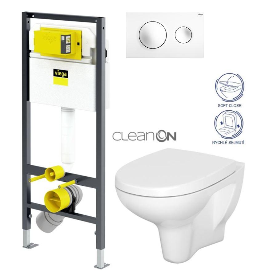 VIEGA Presvista modul DRY pro WC včetně tlačítka Style 20 bílé + WC CERSANIT ARTECO CLEANON + SEDÁTKO (V771973 STYLE20BI AT1)