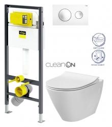 VIEGA Presvista modul DRY pre WC vrátane tlačidla Style 20 bielej + WC CERSANIT CLEANON CITY (V771973 STYLE20BI CI1)