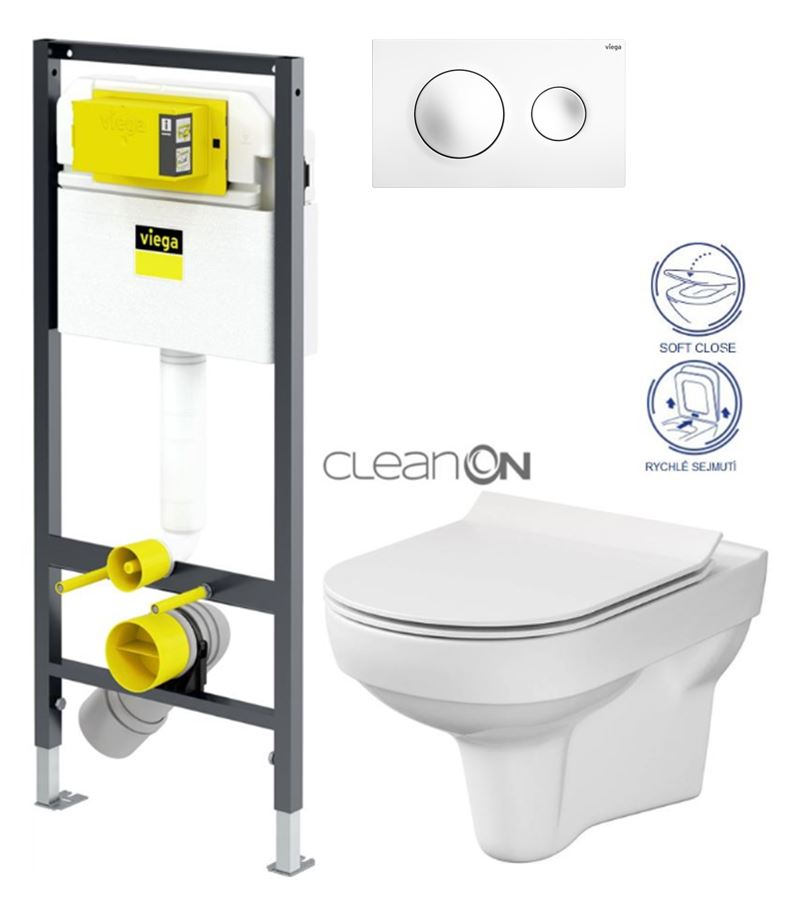 VIEGA Presvista modul DRY pre WC vrátane tlačidla Style 20 bielej + WC CERSANIT CITY NEW CLEANON + WC SEDENIE SLIM V771973 STYLE20BI CI2