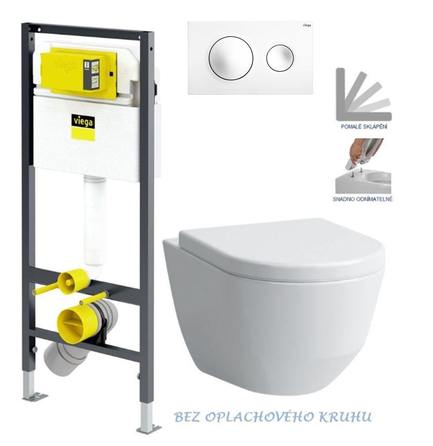 VIEGA Presvista modul DRY pre WC vrátane tlačidla Style 20 bielej + WC LAUFEN PRO RIMLESS + SEDADLO V771973 STYLE20BI LP1