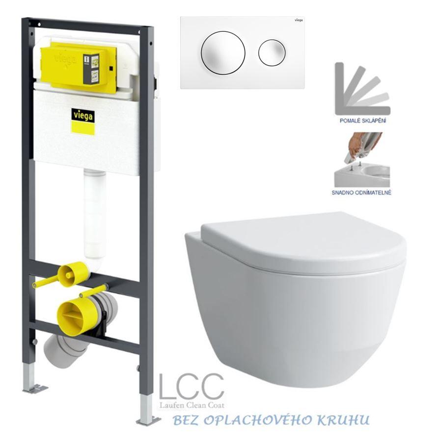 VIEGA Presvista modul DRY pro WC včetně tlačítka Style 20 bílé + WC LAUFEN PRO LCC RIMLESS + SEDÁTKO (V771973 STYLE20BI LP2)