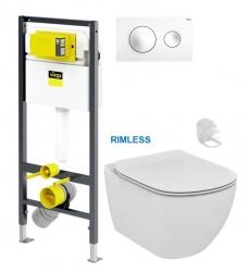 VIEGA Presvista modul DRY pre WC vrátane tlačidla Style 20 bielej + WC Ideal Standard Tesi se sedlem RIMLESS (V771973 STYLE20BI TE2)