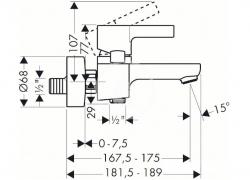 HANSGROHE - Metris S Páková vaňová batéria, chróm (31460000), fotografie 2/2