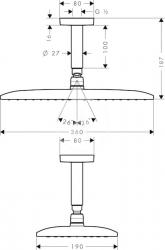 HANSGROHE - Raindance New Horná sprcha E 360 Air 1jet s prívodom od stropu 100 mm, chróm (27381000), fotografie 4/2