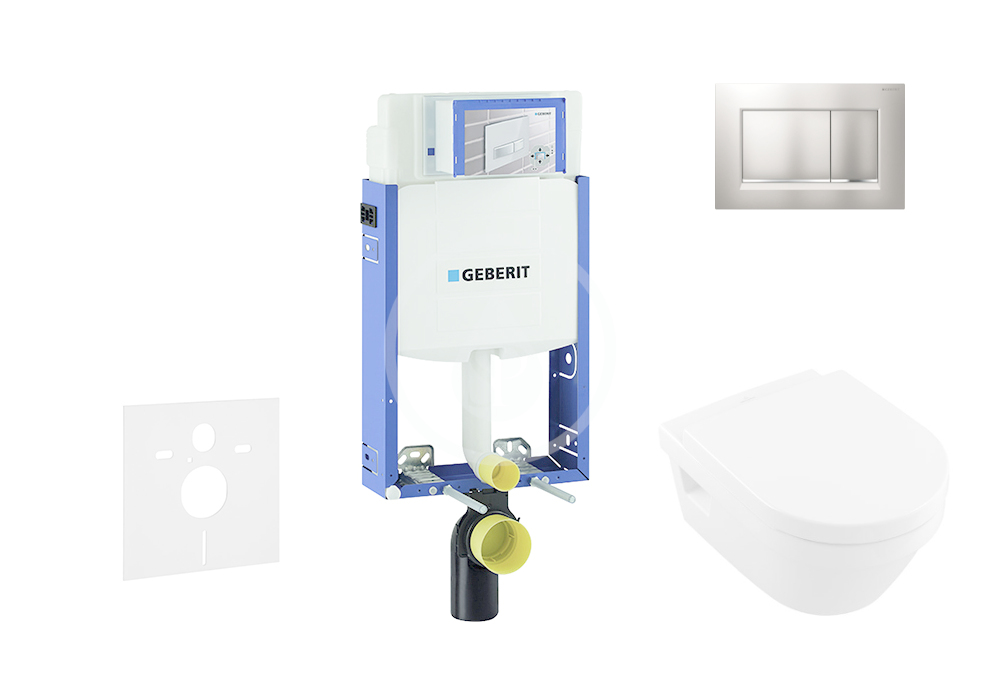 GEBERIT - Kombifix Modul pro závěsné WC s tlačítkem Sigma30, matný chrom/chrom + Villeroy Boch - WC a sedátko, DirectFlush, SoftClose, CeramicPlus (110.302.00.5 NB7)