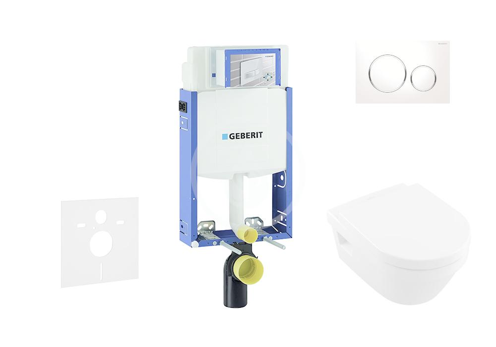 GEBERIT - Kombifix Sada pro závěsné WC + klozet a sedátko softclose Villeroy & Boch - sada s tlačítkem Sigma20, bílá/lesklý chrom/bílá (110.302.00.5 NB4)