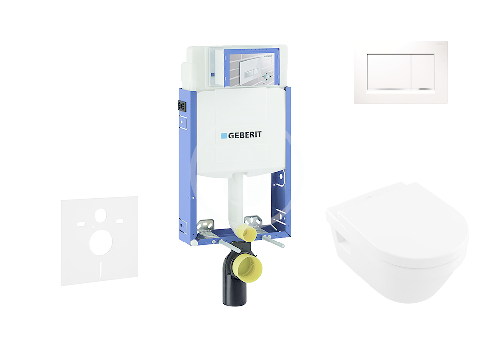 GEBERIT - Kombifix Sada pro závěsné WC + klozet a sedátko softclose Villeroy & Boch - sada s tlačítkem Sigma30, bílá/lesklý chrom/bílá (110.302.00.5 NB5)