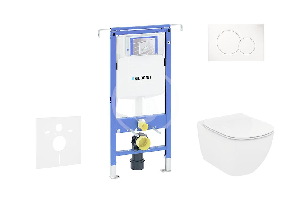 GEBERIT - Duofix Sada pro závěsné WC + klozet a sedátko Ideal Standard Tesi - sada s tlačítkem Sigma01, bílé (111.355.00.5 NF1)