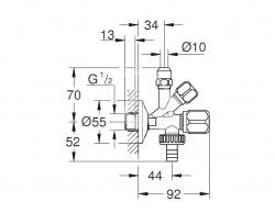 GROHE - Universal Originálny WAS kombi-rohový ventil, chróm (22036000), fotografie 2/1