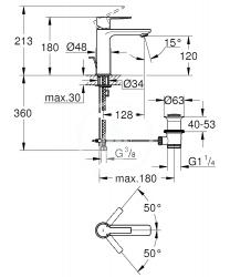 GROHE - Lineare Páková umývadlová batéria S, supersteel (32114DC1), fotografie 4/2