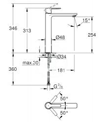 GROHE - Lineare Páková umývadlová batéria XL, chróm (23405001), fotografie 8/4