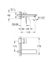 GROHE - Lineare Umývadlová batéria M pod omietku, 2-otvorová inštalácia, chróm (19409001), fotografie 2/1
