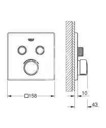 GROHE - SmartControl Batéria pod omietku s 2 výstupmi, chróm (29148000), fotografie 2/1