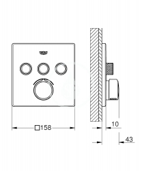 GROHE - SmartControl Batéria pod omietku s 3 výstupmi, chróm (29149000), fotografie 2/2
