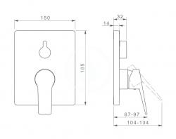 HANSA - Twist Vaňová batéria pod omietku, s prepínačom na 2 výstupy, chróm (89843083), fotografie 2/1