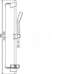 HANSA - Basicjet Sprchová súprava s nástennou tyčou 720 mm, chróm (44780113), fotografie 2/3