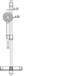 HANSA - Basicjet Sprchová súprava s nástennou tyčou 720 mm, chróm (44780113), fotografie 6/3