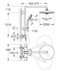 GROHE - Euphoria Sprchový set s termostatom na stenu, 260 mm, chróm (27615001), fotografie 14/12