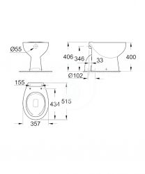 GROHE - Bau Ceramic Stojacie WC, rimless, alpská biela (39431000), fotografie 2/2