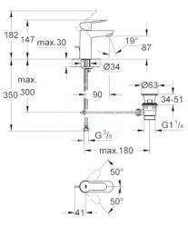 GROHE - Edge Páková umývadlová batéria s výpustom, veľkosť S, chróm (23328000), fotografie 2/2