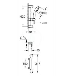 GROHE - Grohtherm 1000 Sprchová súprava s termostatom na stenu, chróm (34152004), fotografie 2/1
