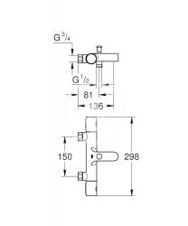 GROHE - Grohtherm 1000 Cosmopolitan M Termostatická vaňová batéria, chróm (34323002), fotografie 2/1