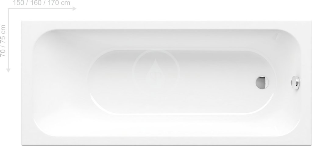 RAVAK - Chrome Obdĺžniková vaňa 1700x750 mm, biela C741000000