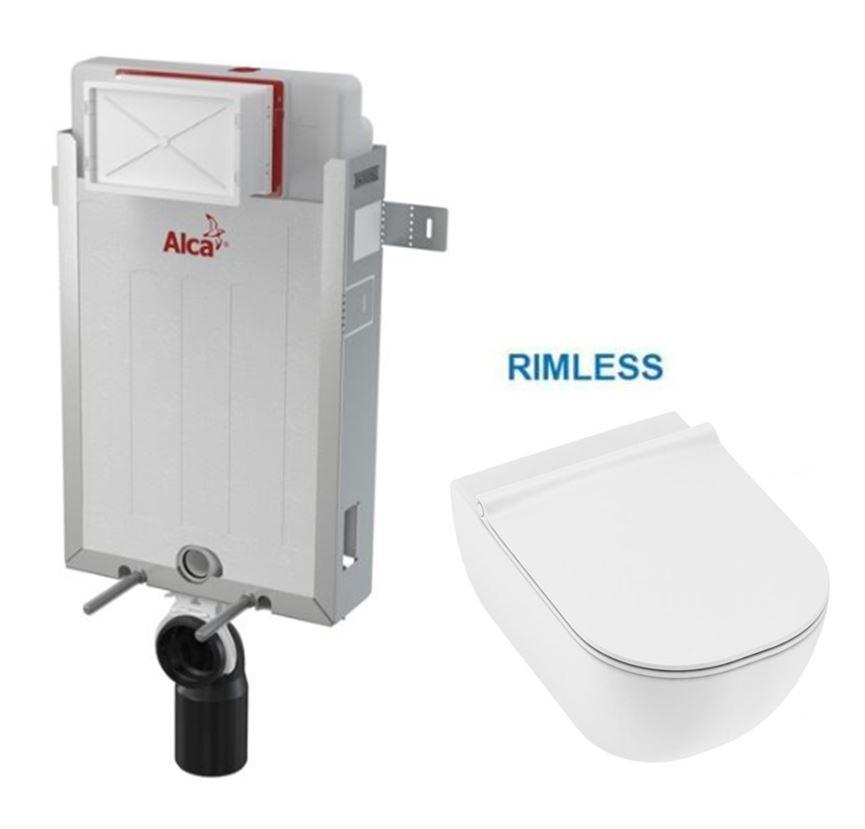 ALCAPLAST Renovmodul - předstěnový instalační systém bez tlačítka + WC JIKA MIO + SEDÁTKO SLIM (AM115/1000 X IO1)