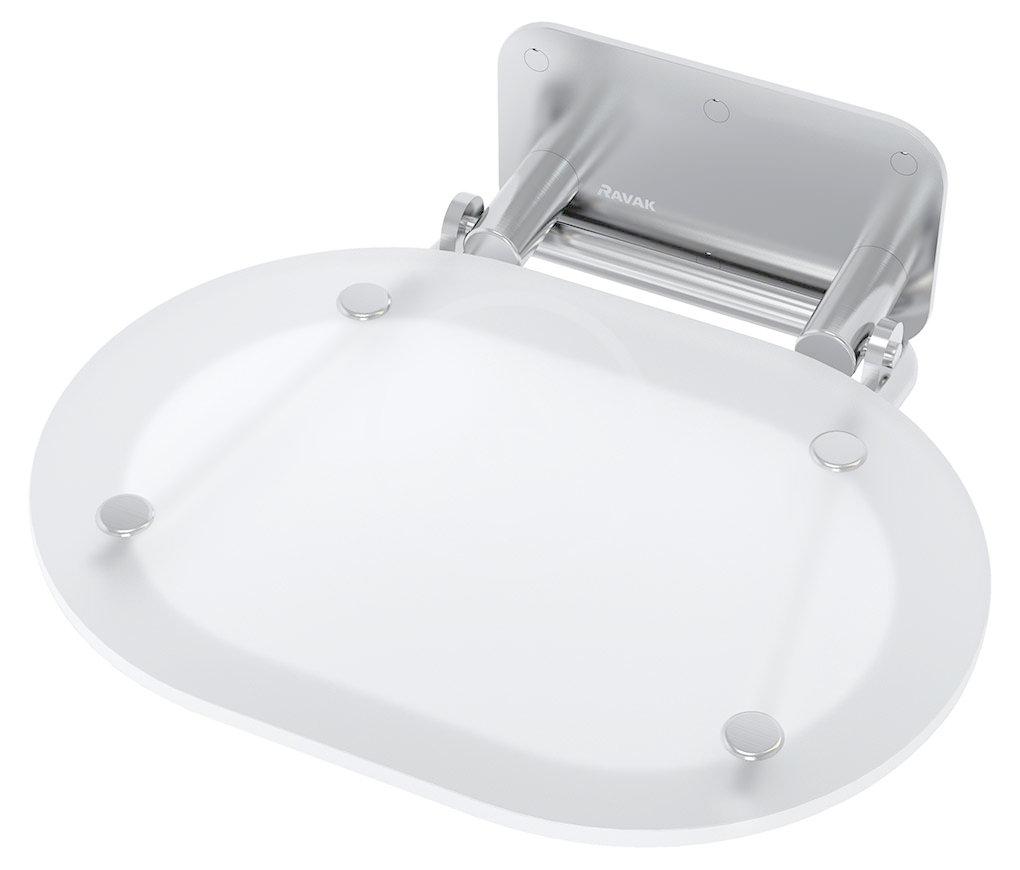 RAVAK - Ovo Chrome Sprchové sedadlo 410 mmx375 mmx130 mm – chróm/nehrdzavejúca oceľ B8F0000029