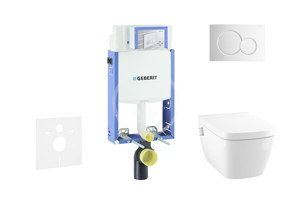 GEBERIT - Kombifix Modul na závesné WC s tlačidlom Sigma01, lesklý chróm + Tece One - sprchovacia toaleta a doska, Rimless, SoftClose 110.302.00.5 NT2