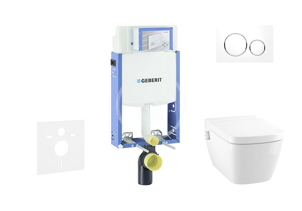 GEBERIT - Kombifix Modul na závesné WC s tlačidlom Sigma20, biela/lesklý chróm + Tece One - sprchovacia toaleta a doska, Rimless, SoftClose 110.302.00.5 NT4