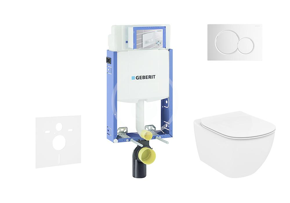 GEBERIT - Kombifix Modul na závesné WC s tlačidlom Sigma01, lesklý chróm + Ideal Standard Tesi - WC a doska, Aquablade, SoftClose 110.302.00.5 NU2