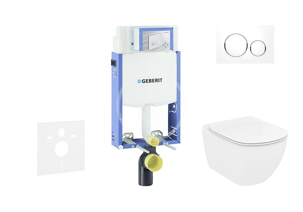 GEBERIT - Kombifix Modul na závesné WC s tlačidlom Sigma20, biela/lesklý chróm + Ideal Standard Tesi - WC a doska, Aquablade, SoftClose 110.302.00.5 NU4