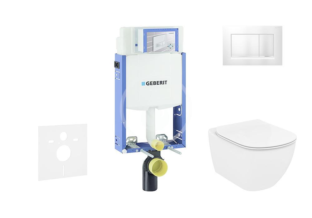 GEBERIT - Kombifix Set předstěnové instalace, klozetu a sedátka Ideal Standard, tlačítka Sigma30, Aquablade, SoftClose, chrom mat/chrom (110.302.00.5 NU7)