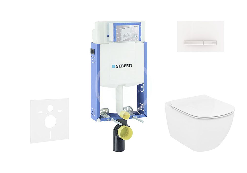 GEBERIT - Kombifix Modul na závesné WC s tlačidlom Sigma50, alpská biela + Ideal Standard Tesi - WC a doska, Aquablade, SoftClose 110.302.00.5 NU8
