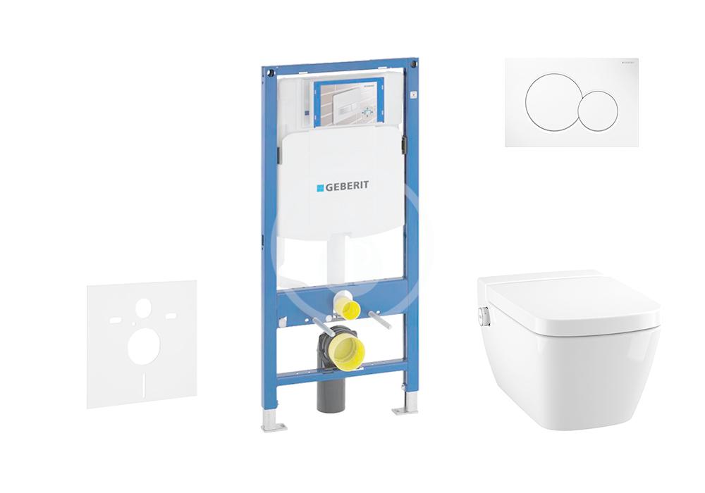 GEBERIT - Duofix Modul pro závěsné WC s tlačítkem Sigma01, alpská bílá + Tece One - sprchovací toaleta a sedátko, Rimless, SoftClose (111.300.00.5 NT1)