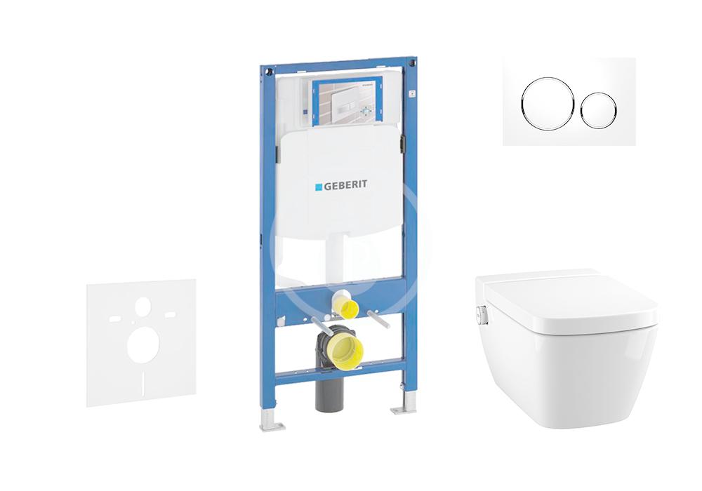 GEBERIT - Duofix Modul pro závěsné WC s tlačítkem Sigma20, bílá/lesklý chrom + Tece One - sprchovací toaleta a sedátko, Rimless, SoftClose (111.300.00.5 NT4)
