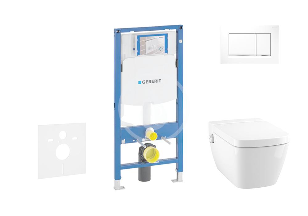 GEBERIT - Duofix Modul pro závěsné WC s tlačítkem Sigma30, bílá/lesklý chrom + Tece One - sprchovací toaleta a sedátko, Rimless, SoftClose (111.300.00.5 NT5)